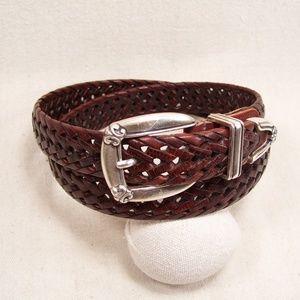Braided Leather Belt 3 Piece Southwest Buckle Set